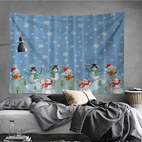 """AndyTours Bedroom Tapestry,Snowman Winter Christmas Digital Print Blue Red Yellow White Green Machine Washable,Home Decorations for Bedroom Dorm Decor,51""""x60"""""""