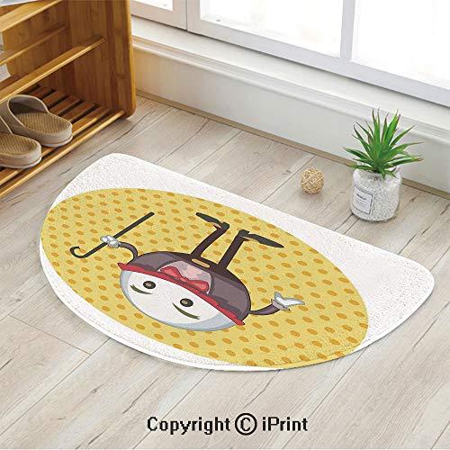 LEFEDZYLJHGO Semi Circle Super Soft Bath Room Micro Fiber Bath Rug,Humpty Dumpty Egg Standing Dotted Background Cartoon Alice,39