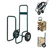 Karmas Product Firewood Log Cart with Two Wheels Hauler Rack Wood Mover Storage Carrier Cart for Backyard Patio Garden Work