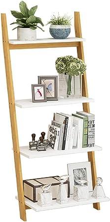 Hyl Librerías Escalera de bambú Naturales de estantería, Espesado Abiertas Estrecha Plataforma estantes de Madera de Almacenamiento Abierto Organizador Multiusos for el hogar o la Oficina: Amazon.es: Hogar