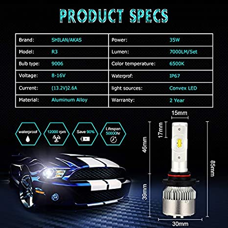 2 Yr Warranty 7000lm 6.5K Xenon White LED Headlight Bulbs Conversion Kit Wishshopping H7 High Beam Low Beam Headlamp Halogen Headlight Bulbs Replacement for Car Motorcycle