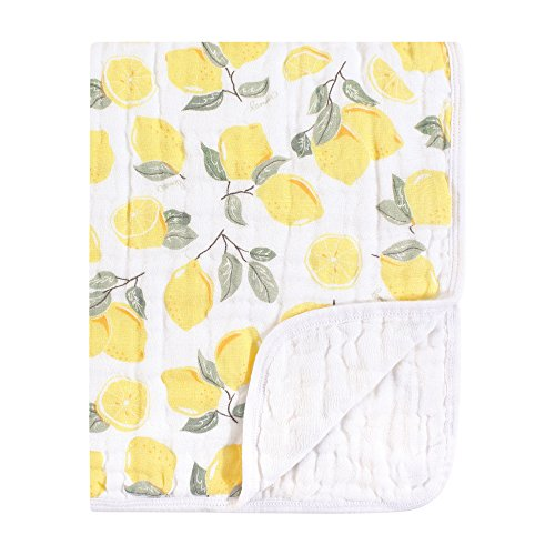 Hudson Baby Four Layer Muslin Tranquility Blanket, Lemons, One Size