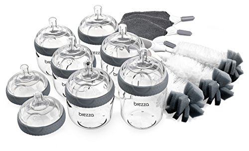 Baby Brezza Glass Baby Bottle Starter Gift Set - 6 Bottles and 8 Nipples Plus Bottle Brush and Cleaning Cloths - Kit is Great for Newborns and Infants - Borosilicate Glass Bottles