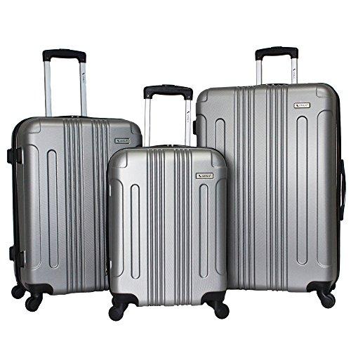 AMKA Remus Hardside 3-Piece Expandable Spinner Upright Luggage Set-Silver ()