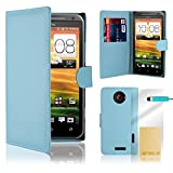 32nd® Book wallet PU leather case cover for HTC One X + screen protector, cleaning cloth and touch stylus - Blue