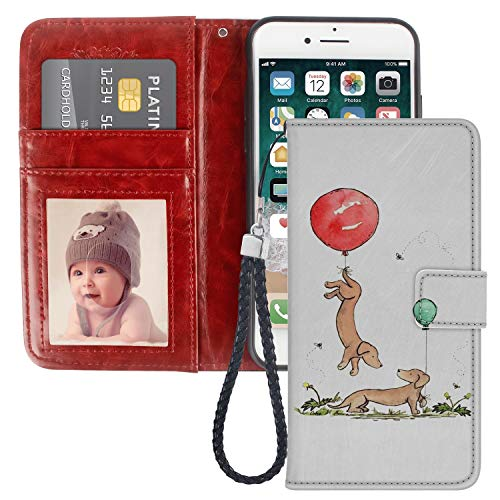 Dachshund Dog iPhone 7 8 Wallet Phone Case JQLOVE Apple Series PU Leather Flip Magnetic Clasp with Card Slot Stand Holder Wallet Case for iPhone 7 8 Dachshund Dog