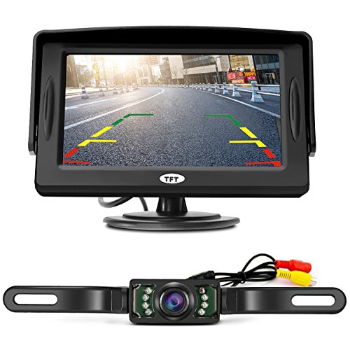 TVIRD Wireless Car Rear View System Night Vision Backup Camera and 4.3 Color HD LCD Monitor Kit Auto Reverse System Rear View Parking Camera Set for Car Truck Van Caravan Trailers Camper