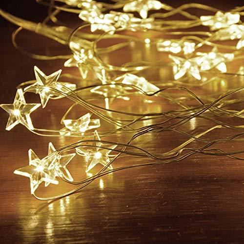 Tuscom Button Battery Pentagram Star Light Cozy String Fairy Lights for Xmas Window Bathroom Wedding Festival Holiday (3 Colors) (Yellow) by Tuscom@ (Image #6)