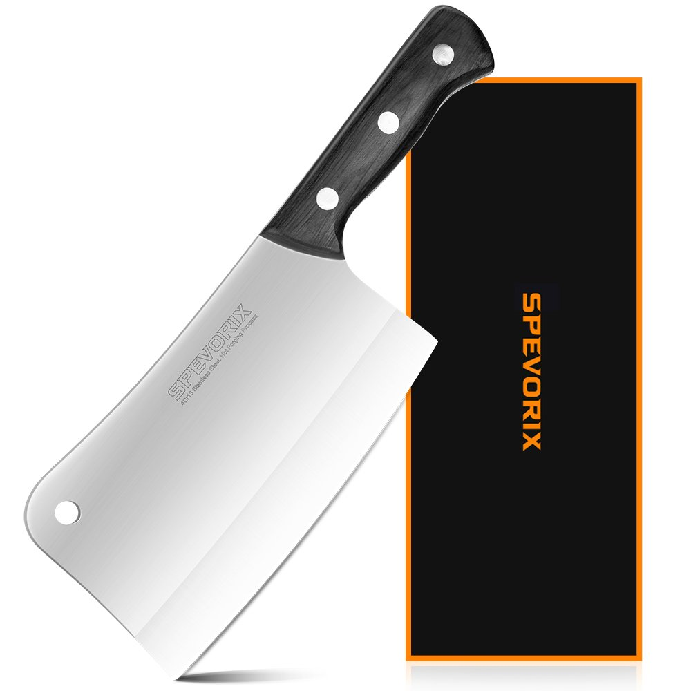 Meat Cleaver,7 inch Cleaver Knife Chinese Butcher Knife Stainless Steel Kitchen Knife with Ergonomic Handle,Chinese Chef Knife Multipurpose Use for Home Kitchen or Restaurant by SPEVORIX