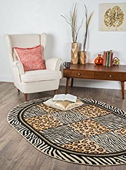 Universal Rugs Macie Transitional Animal Multi-Color Oval Area Rug, 5' x 8' Oval