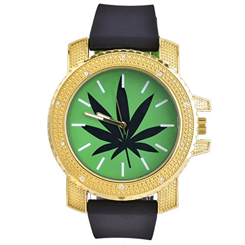 Marijuana Bling Watch (Men's Hip Hop Analog Silicone Band Techno Pave Marijuana Weed Watch 7956 GBK)