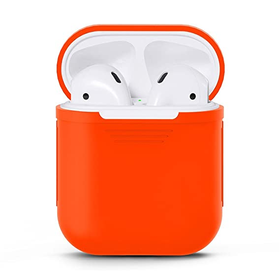 half off 775f9 60d6f Rainbow Seven Colors AirPods Skin Case Protective Silicone Cover and Skin  for Apple Airpods Charging Case (Orange)