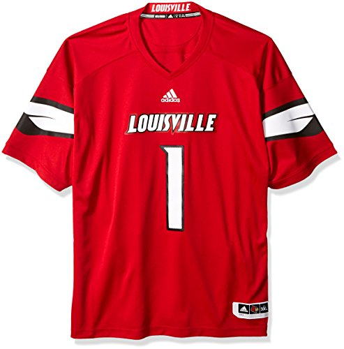 NCAA Louisville Cardinals Adult Men Premier Football Jersey, 3X-Large, Black by adidas