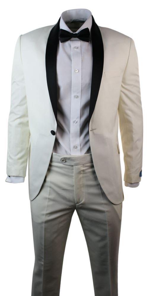 Mens Cream Ivory Tuxedo Dinner Suit Black Shawl Collar 3 Piece Wedding Prom M Apparel