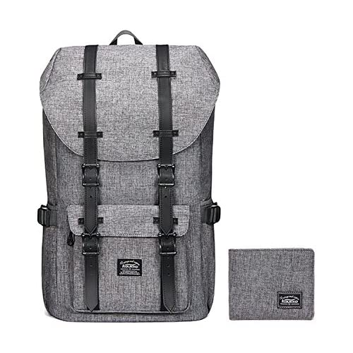 "KAUKKO Laptop Outdoor Backpack, Travel Hiking& Camping Rucksack Pack, Casual Large College School Daypack, Shoulder Book Bags Back Fits 15"" Laptop & Tablets (1linen Grey[2PC])"