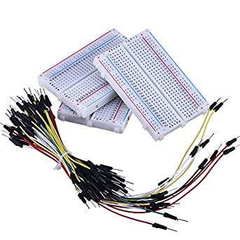 eBoot 3 Pieces 400-Point Solderless Circuit Breadboard with 65 Pieces M/M Flexible Breadboard Jumper Wires
