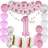 Godagoda Baby 1 Year Birthday Party Decoration Pink Birthday Paper Flag Paper Tassel-1 Set