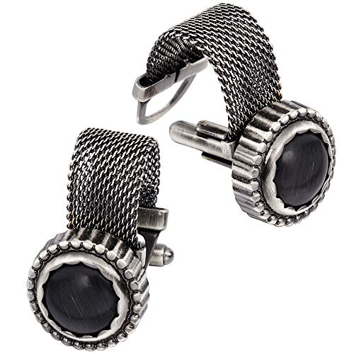 - HAWSON Mens Cufflinks with Chain - Stone and Anti-Silver Tone Shirt Accessories - Party Gifts for Young Men (Cats Eye)