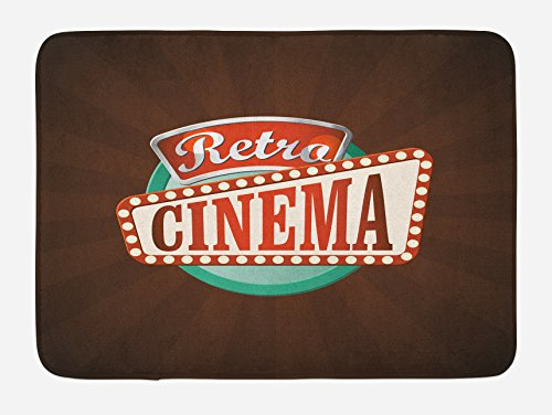Ambesonne Movie Theater Bath Mat, Retro Style Cinema Sign Design Film Festival Hollywood Theme, Plush Bathroom Decor Mat with Non Slip Backing, 29.5 W X 17.5 W Inches, Brown Turquoise Vermilion by Ambesonne