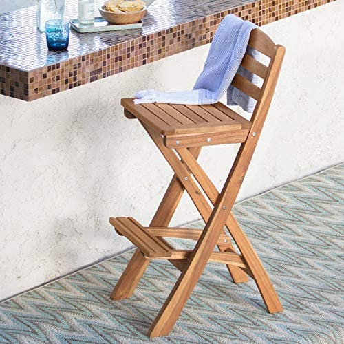 KOVALENTHOR Foldable Wood Barstool, Barstool for Outdoor Wood Backyard Get-Together, Seat Both Indoor and Outdoor Use