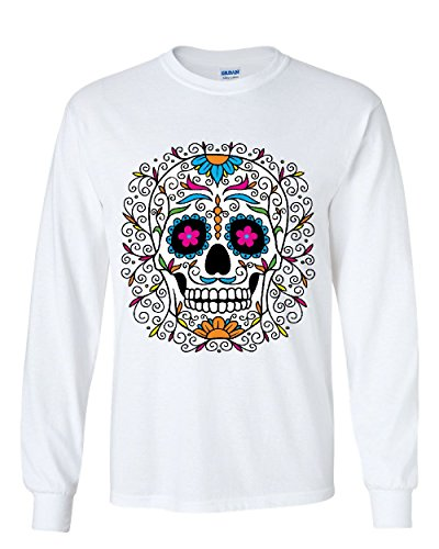 Floral Sugar Skull Day of The Dead Long Sleeve T-Shirt Calavera White XL (Day Of The Dead Long Sleeve T Shirts)