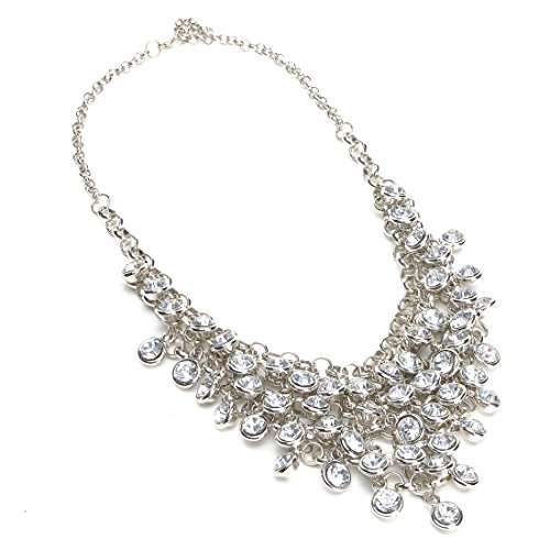 Jerollin Fashion Silver Tone Chain White Rhinestone Bunch Pendant Bib Statement (Rhinestone Bib)