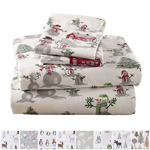 Home Fashion Designs Stratton Collection Extra Soft Printed 100% Turkish Cotton Flannel Sheet Set. Warm, Cozy, Lightweight, Luxury Winter Bed Sheets Brand. (Twin XL, Winter Wonderland)