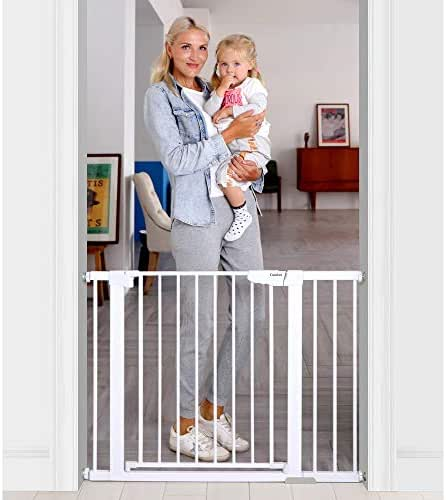 """Cumbor 43.3"""" Auto Close Safety Baby Gate, Extra Tall and Wide Child Gate, Easy Walk Thru Durability Dog Gate for The House, Stairs, Doorways. Includes 4 Wall Cups, 2.75-Inch and 8.25-Inch Extension"""