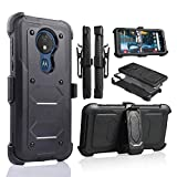 for Moto G7 Power Case, 6goodeals Heavy Duty Hard Shock Protector Full Protective Shield Case Cover with Belt Clip and Kickstand Built in Screen for Motorola G7 Power (Black)