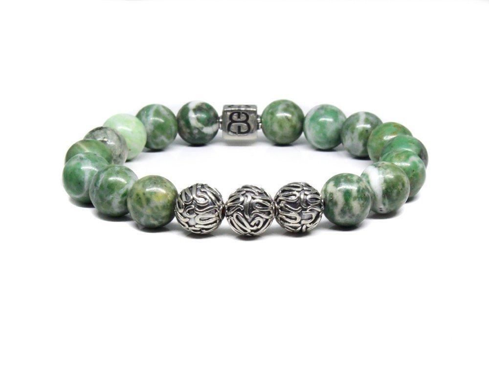Mens Jade Bracelet Natural Qinghai Jade and Sterling Silver Bracelet Designer Bracelet Men
