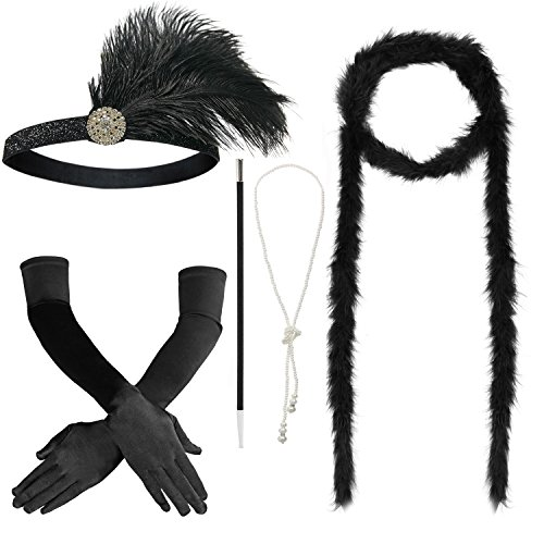 Combined Costumes (1920s Accessories Set Headband,Necklace,Gloves,Cigarette Holder and Feather boa (G))