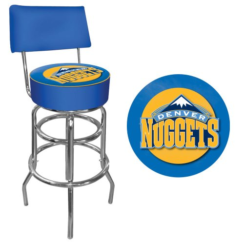 NBA Denver Nuggets Padded Swivel Bar Stool with Back by Trademark Gameroom
