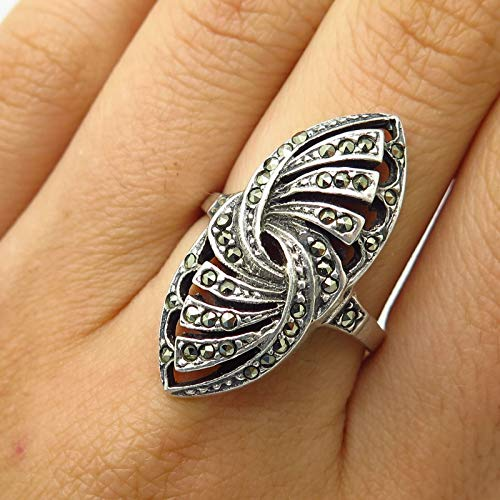 VTG 925 Sterling Silver Real Marcasite Gem Abstract Design Wide Ring Size 8 3/4 Jewelry by Wholesale Charms