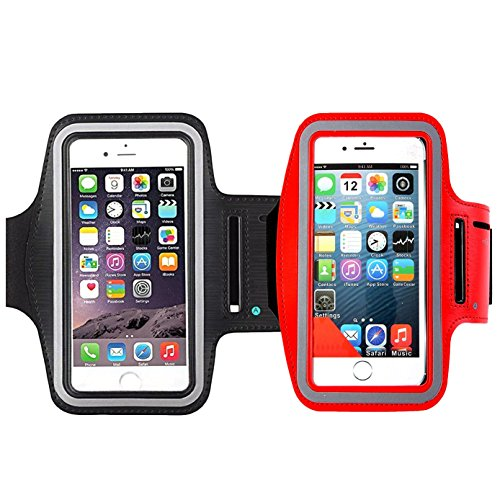 Nano Armband Ipod Protector Screen ([2Pack]Water Resistant Cell Phone Armband,iBarbe 5.7 Inch Case for such as iPhone X,8, 7, 6, 6S PLUS, Galaxy Note 8/S7 Edge/S8/S8+ - Adjustable Reflective Velcro Workout Band, Key Holder-red+black)