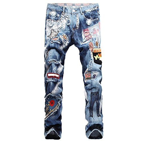 Milan Station Men's Ripped Biker Destroyed Badges Patchwork Jeans with Hole (Mens Bootcut Jeans Out Of Style 2017)