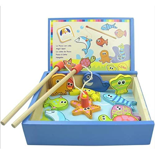 Speedmar Magnetic Fishing Toy Wooden Box Fish Pond Educational Toys