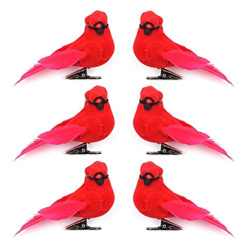 Set of 6 Artificial Red Cardinal Birds with Clip for Decoration, Floral Arrangements and Arts and Crafts -