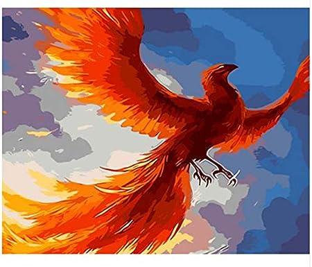 Agolong Abstrait Oiseau Affiche Or Phoenix Diy Peinture Par Numeros Peint A La Main Moins De Decorations Murales Photos Moderne Maison Decoration Sans Cadre 40x50cm Amazon Fr Cuisine Maison
