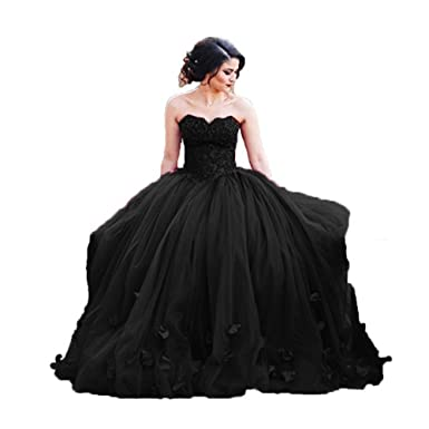 a1fdf55728b Uryouthstyle 2018 Strapless Quinceanera Ball Gowns Lace Prom Dresses US2  Black