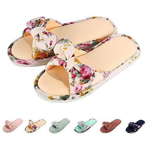 - Women Open Toe Slip on Home Slippers Comfort Memory Foam Slippers Indoor Outdoor House Slippers Shoes