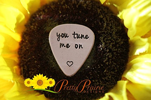 You Tune Me On - Guitar Plectrum - Hand Stamped Men's Gift - Music Gifts - Band - Weddings - Metal Guitar Pick