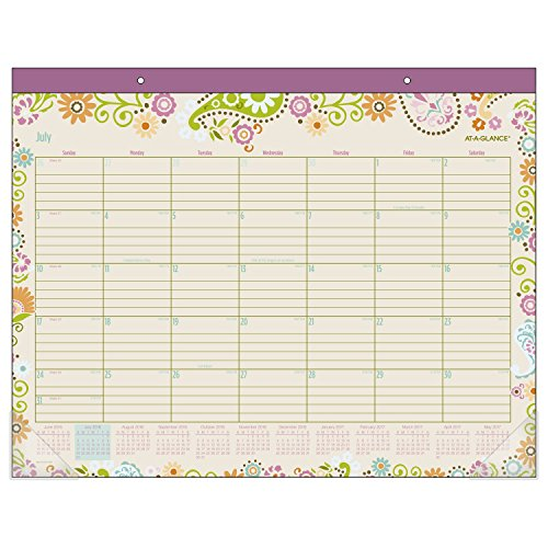 "AT-A-GLANCE Academic Monthly Desk Pad Calendar, July 2017 - June 2018, 21-3/4"" x 17"", Garden Party (D150-704A)"