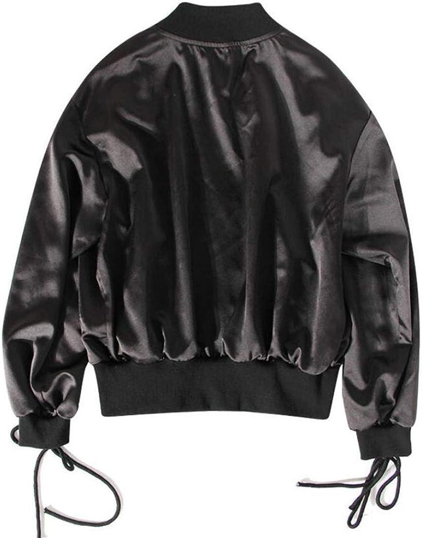 Hmarkt Women Fall Hip-hop Lace Up Full-Zip Baseball Bomber Jacket Coat