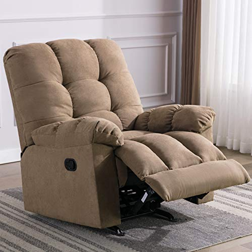 ANJ Rocker Recliner Chair Manual Reclining Chair Sofa Soft Contemporary with Overstuffed Arm and Back, Light Brown
