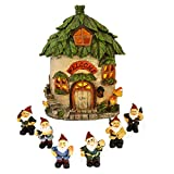 Harbor 55 Fairy Garden House, Lighted, 6.5 Inches Tall, with a Set of 6, 1.5 Inch Matching Scale Miniature Garden Gnomes