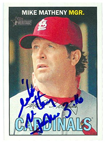 Mike Matheny autographed baseball card (St Louis Cardinals Manager) 2016 Topps Heritage #276 by Autograph Warehouse