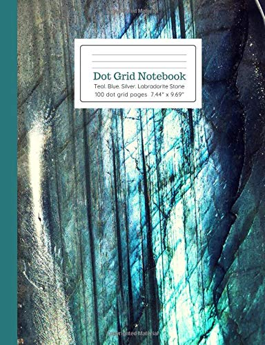 Dot Grid Notebook Teal Blue Silver Labradorite Stone for sale  Delivered anywhere in Canada
