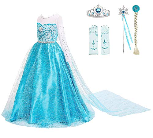 Snow Queen Princess Elsa Costumes Birthday Party Halloween Costume Dress Up for Little Girls with Wig,Crown,Mace,Gloves Accessories 3-12 Years(Blue with Accessories,Age:6-7Years Height 51