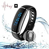 Smart Band - Heart Rate Blood Pressure Sleep Monitor - Waterproof Pedometer Smart Watches,Fitness Tracker Bracelet GPS Watch - For Android iphones Bluetooth Health Wristband By Shining Ever (black) …