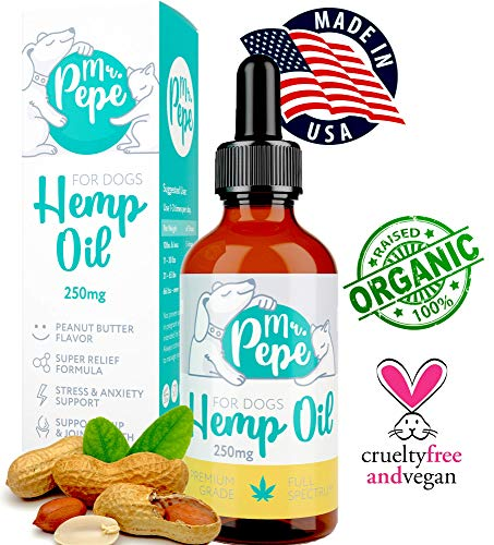 Mr. PePe Full Spectrum Hemp Oil for Dogs & Cats Peanut Butter Flavor 250mg - Organic Pain Relief, Stress & Anxiety Support, Calming Treats, Hip and Joint Health - High in Omega 3,6,9 - Made in USA ()